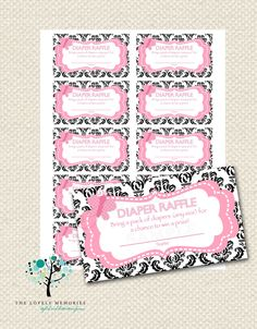 Baby Shower Diaper Raffle ticket Damask Pink by TheLovelyMemories, $10.00