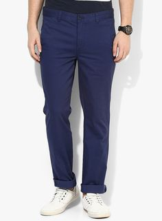 Buy Park Avenue Blue Solid Regular Fit Chinos for Men Online India, Best Prices…