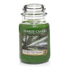 Under The Palms : Large Jar Candle : Yankee Candle : This fragrance is like that cool, refreshing shade . . . a lush, green scent of sea grass, palm leaves, and island coconut.
