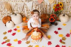 Little Pumpkin Cake Smash Pumpkin Patch Birthday, Pumpkin First Birthday, Baby Girl First Birthday, 22nd Birthday, Birthday Cakes, Birthday Girl Pictures, Girl Birthday Themes, Birthday Ideas, Fall 1st Birthdays