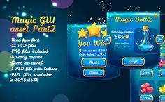 Magical Glossy Blue Game UI Pack