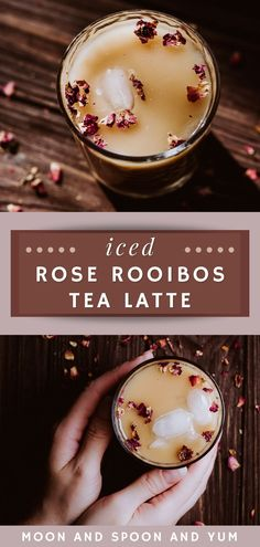 Vegan Rose Iced Milk Tea Latte Recipe (Caffeine Free) - Ditch your Starbucks drink for a calming, refreshing, and caffeine free plant-based sweet tea drink perfect for your next tea party. Edible rose flowers have many benefits and work perfectly in this easy homemade tea recipe. This coffee alternative is soothing to the body and the soul! Herb Recipes, Milk Recipes, Paleo Recipes, Ice Milk, Milk Tea, Moon Milk Recipe, Gluten Free Drinks, Homemade Tea, Latte Recipe