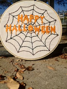 Beautiful Happy Halloween HandStitched Door/Wall by RitesofString