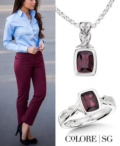 Dare to wear jewel tones like garnet this fall! #fallfashion #necklace #ring #silver #style #gemstone #jewelry #ootd