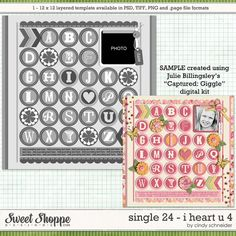 Digital Scrapbook Template, Cindy's Layered Templates - Single 24: I Heart U 4 by Cindy Schneider
