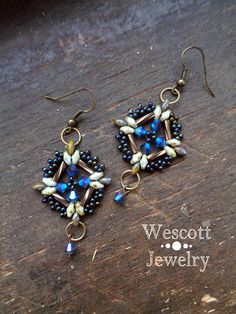 Blue Swarovski Crystal Lacy Diamond Earrings with Bronze and