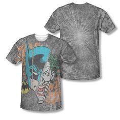 DC Batman The Joker Broken Visage Faces Sublimation ALL OVER Vintage T-shirt top  Official Licensed Batman All Over Front And Back Sublimated Print #Batman #DCComics #BatmanTshirt #BruceWayne #VintageComics #TheJoker #TheCapedCrusader #TheDarkKnight  #DetectiveComics #ComicStrip