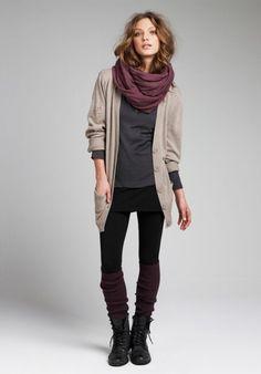 boyfriend cardigan + scarf
