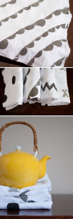Easy Stamped Kitchen Towels | Design Mom