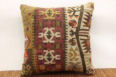 Folk art kilim pillow cover 16 x 16 Vintage by kilimwarehouse, $58.00