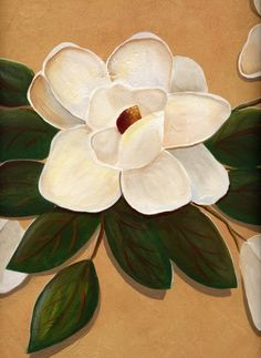 This is a close up of a hand painted magnolia (acrylic) over a faux finished background.  The walls were first glazed with a 2-layer finish and then embellished with magnolia swags.