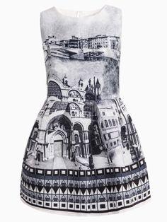 Jacquard Sleeveless Dress in Palace Print | Choies