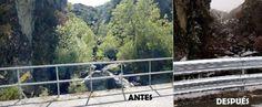 Antes y después del puente del río Secundera