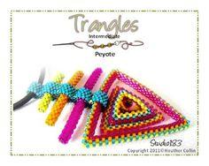 """Trangles"" - Heather Collins - Odd count Peyote, Bezelling, Flat Peyote, Herringbone Bead Weaving pattern Beaded Triangles at their best!"