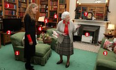 A photograph of the Queen and the incoming Governor General of Canada in the library at Balmoral Castle yesterday. Pictured: 1. An armchair, believed to have been re-covered and finished in the Queen's preferred skirted style; 2. A Samsung television and Sky box, a rare modern touch; 3. Volumes of books, including the works of Sir William Fraser, some of which have remained in exactly the same position for 40 years; 4. A desk and leather chair which have been used by the Queen since at least…