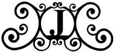 Wrought Iron House Plaque Let J -24 In