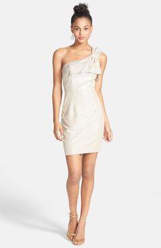 Hailey Logan Bow Textured One-Shoulder Dress (Juniors) | Nordstrom