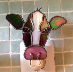 Stained Glass Holstein  Cow Night Light