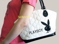 Playboy white tote bag handbag purse