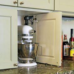 ideas kitchen food storage cabinet appliance garage for 2019 Kitchen Appliance Storage, Appliance Garage, Kitchen Storage Solutions, Kitchen Pantry, Kitchen Items, Kitchen Organization, New Kitchen, Kitchen Cabinets, Garage Cabinets
