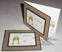 Tammie Stamps: Happy New Year Card Stampin'Up! Making Spirits Bright stamp set and Blendabilities markers with brushed gold card stock