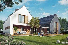 projekt Dwie bryły 02 KZB1010 Modern Barn, Dream House Exterior, Home Fashion, Construction, Townhouse, Building A House, House Plans, Sweet Home, Cottage