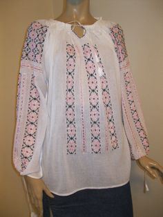 Hand embroidered Romanian peasant blouse  pink SILK by RealRomania