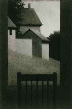 Robert Kipniss- mezzotints - windowatdusk