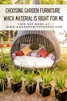 Choosing Garden Furniture Wooden Garden Furniture, Iron Furniture, Modular Furniture, Rattan Furniture, Furniture Making, Rattan Sofa, Outdoor Living, Outdoor Decor, Garden Inspiration