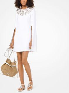 b9c6f9b8ad858 Embroidered Double Crepe-Sablé Cape Dress White Cape