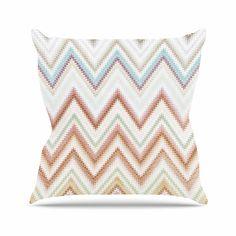 """Nika Martinez """"Seventies Chevron"""" Beige Pattern Throw Pillow"""