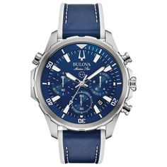 Superb timekeeping technology and a bold display on the Bulova Men's Marine Star Chronograph Watch will turn heads every time your wear it. Crafted in stainless steel, subdials on the blue multifunction dial add style points. Free shipping on orders over $29. Men's Watches, Bulova Mens Watches, Fine Watches, Casual Watches, Sport Watches, Stylish Watches, Elegant Watches, Beautiful Watches, Dream Watches