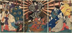 "Kuniyoshi / Triptychon  N,N,'s in ""Arigataya O-Edo no Kagekiyo"""