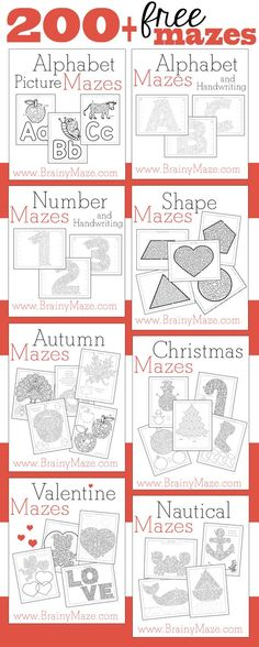 Over 200 Free printables mazes for kids! Organized by level and theme, great for a rainy day or during the Winter. www.BrainyMaze.com