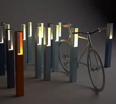 For the dark seasons: Bike rack/bicycle stand Blenda with built in light. Blenda Design | Scandinavian Design for Public Space- 깡통을 넣을수있는 쓰레기통 아이디어
