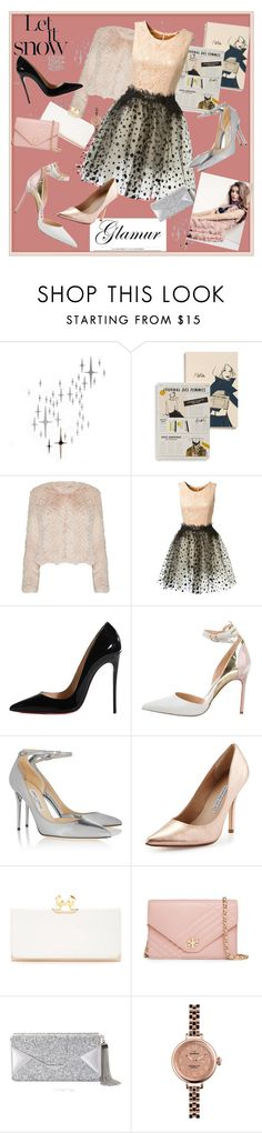 """romantic glamour"" by christy-vfashion ❤ liked on Polyvore featuring DOMESTIC, Rifle Paper Co, Alice + Olivia, Loyd/Ford, Christian Louboutin, Manolo Blahnik, Jimmy Choo, Charles David, Ted Baker and Tory Burch"