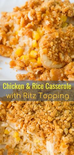 Easy Chicken and Rice Casserole is a hearty dinner recipe perfect for cold weath. Easy Chicken and Rice Casserole is a hearty dinner recipe perfect for cold weather. This delicious chicken casserole is loaded with long grain rice, Campbell Cream Of Chicken Casserole, Campbell's Cream Of Chicken, Ritz Cracker Chicken Casserole, Lemon Chicken, Campbells Chicken And Rice, Easy Chicken And Rice, Chicken And Rice Dishes, Campbells Recipes, Easy Casserole Recipes