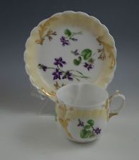 ART NOUVEAU M. REDON LIMOGES PORCELAIN TEA CUP AND SAUCER SET- VIOLETS GOLD