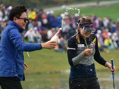 Kyu Jung Baek of South Korea celebrates victory in the LPGA KEB-HanaBank Championship, October 19, 2014. It was her first start in her LPGA career!
