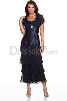 New Style Mother of the Groom Dress in Violet with Pleated Empire Waist and a Tiered Skirt, New Style Mother of Bride Dresses - dressale.com