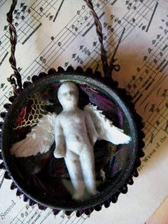 REPOSE antique winged Frozen Charlotte doll in 2 by inthewillows, $22.00