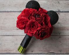 Hidden Mickey Bouquet Disney Wedding Bouquet Red by HeyBouquet