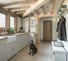 Divine country farmhouse kitchen, Border Oak (Divine German Pointer too! Rustic Kitchen, Country Kitchen, New Kitchen, Barn Kitchen, Kitchen Island, Kitchen Floor, Kitchen Tiles, Belfast Sink Kitchen, Kitchen Retro