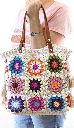 Lovely And Sweet Crochet Bags Pattern Ideas Part crochet bag pattern; Bag Pattern Free, Bag Patterns To Sew, Crochet Patterns, Pattern Ideas, Crochet Ideas, Granny Square Crochet Pattern, Crochet Stitches, Knit Crochet, Crochet Handbags