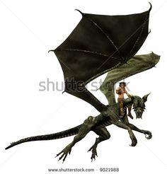 Dragon Rider (isolated version) - stock photo