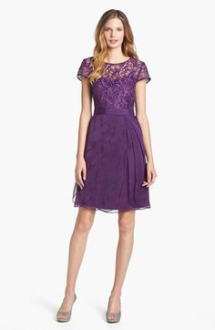 Adrianna Papell Lace & Tiered Chiffon Dress (Regular & Petite) available at #Nordstrom