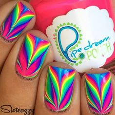 I wish I could watermarble like @ sloteazzy, it looks especially good with neon polishes