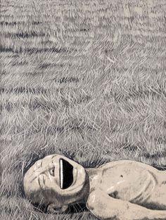 Yue Minjun, The Grassland Series Screenprint 3 (Lying Head Laughing) (2008)