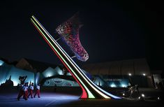 Volunteers walk through the Olympic Park ahead in Gangneung, South Korea, on February 7, 2018.