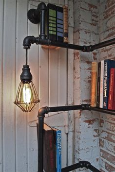 Industrial Pipe Corner Shelf with Pendant by stellableudesigns, $389.00